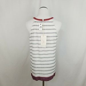 Soft Joie Tops - Soft Joie White Heather Embroidered Striped Tank